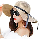 Itopfox Women's Big Brim Sun Hat Floppy Foldable Bowknot Straw Hat Summer Beach Hat Khaki, Khaki, One Size