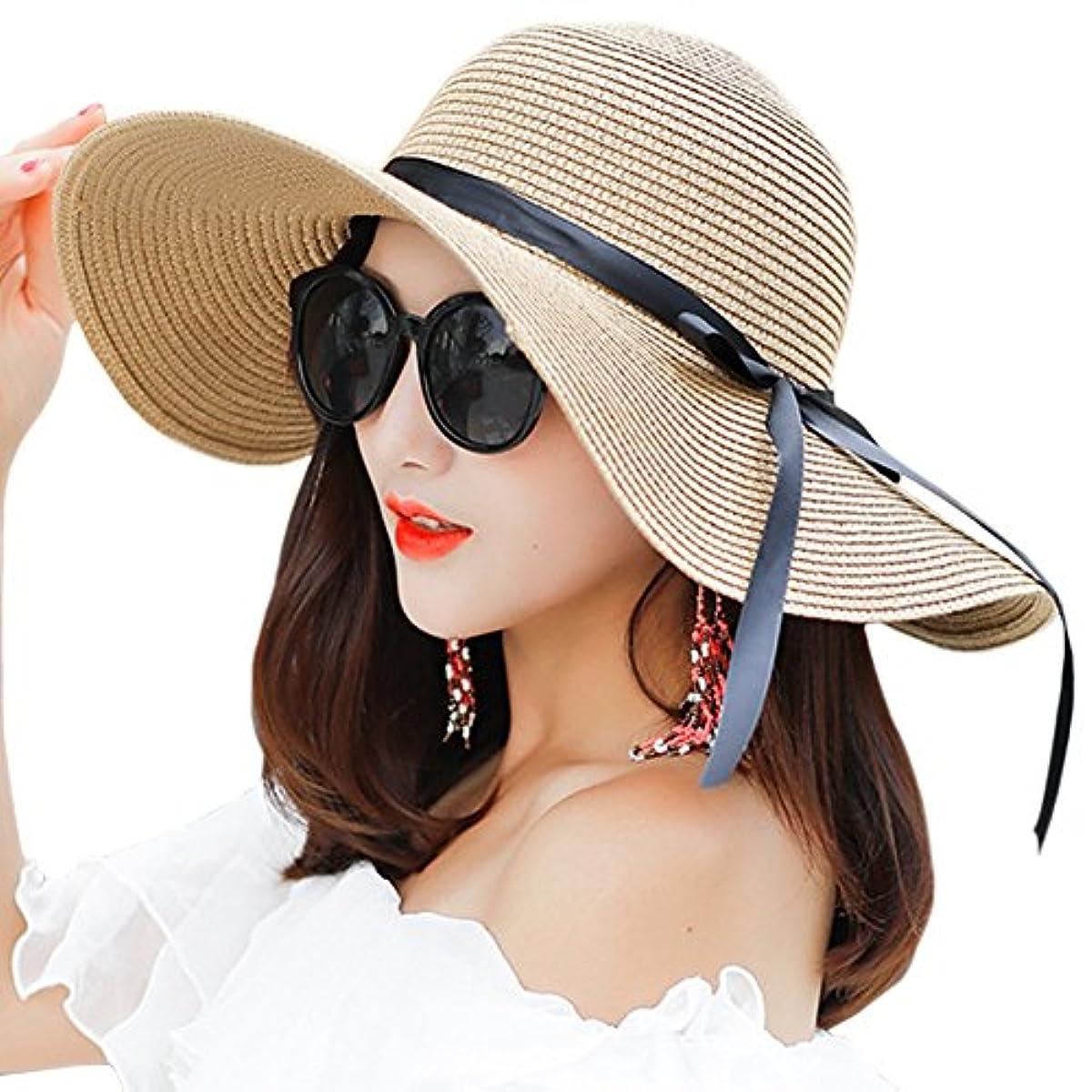 7504d77b Details about Women's Big Brim Sun Hat Floppy Foldable Bowknot Straw Hat  Summer Beach Hat