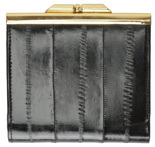 Skin Eel Purse (Genuine Eel Skin Soft Leather French frame Design Wallet by Marshal)