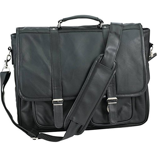 Embassy Genuine Leather Attach Case, Black by Embassy