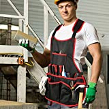 OWAVE Professional Canvas Work Apron - with 16 Tool Pockets, Fully Adjustable, Waterproof & Protective, Black