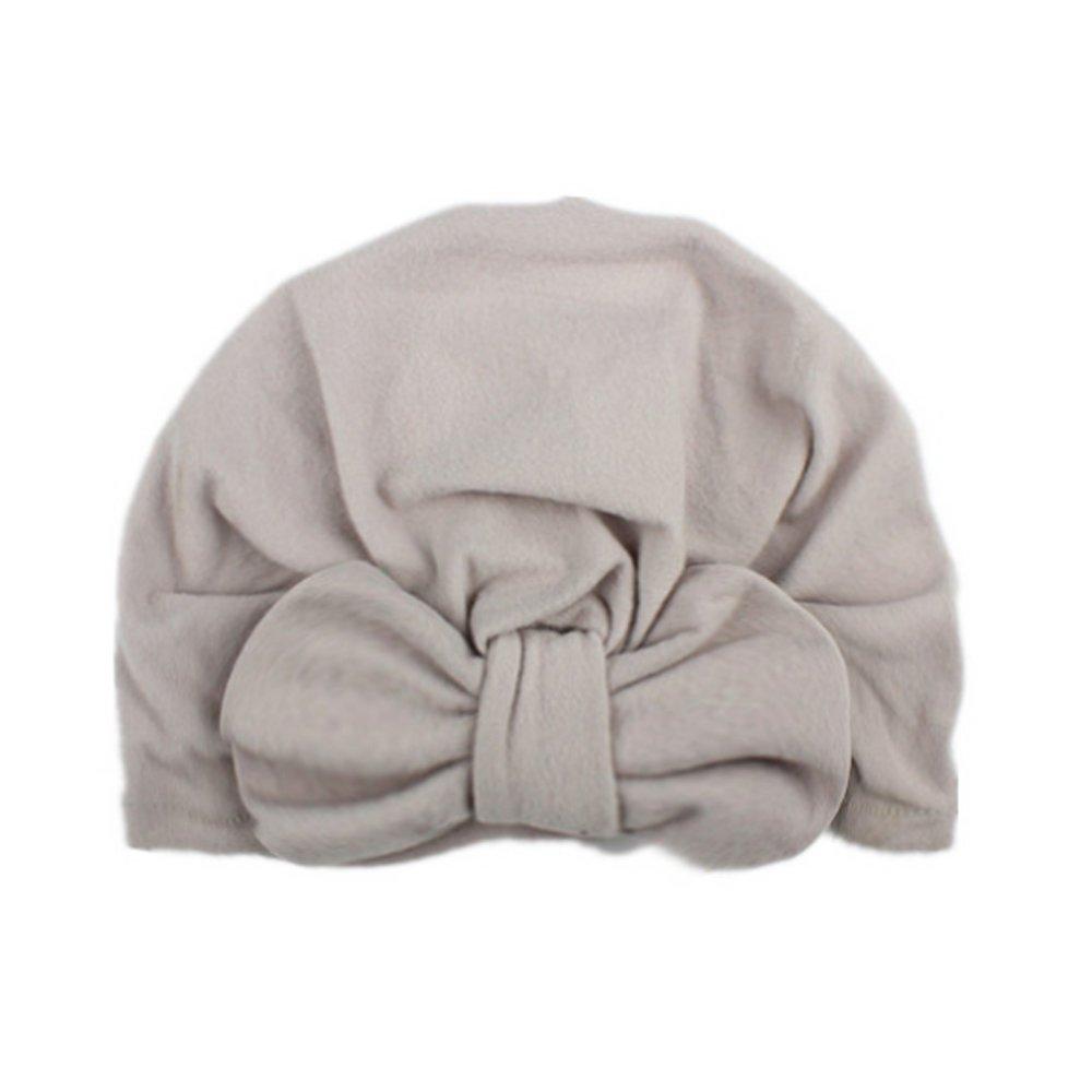 hou zhi liang lovely Bowknot maglia tappi, per bambini bambine boho maglia cappello beanie sciarpa turbante Wrap Cap 19.5 * 17.5cm (grigio) 1PCS