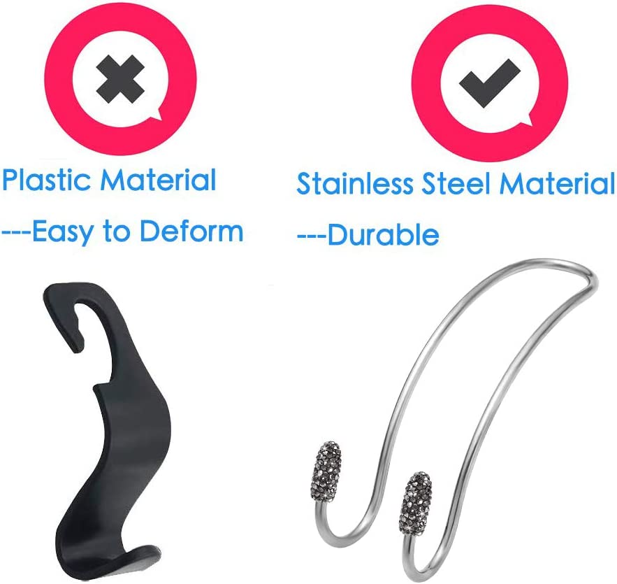 Black SAVORI Car Bag Hanger Auto Back Seat Headrest Hooks Bling Car Accessories 2PCS Vehicle Metal Hook Organizer for Bag Purse Clothes Grocery with 1 Piece Ring Emblem Sticker