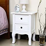 Jerry & Maggie - Nightstand Classic White Loyal Luxury Style - 2 Tier Curving Pattern Sides Night Stand Storage Bedside Table with 2 Drawer Real Natural Paulownia Wood | 4 long legs White