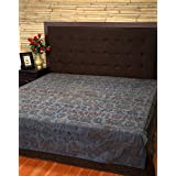 Queen Bedspread Embroidered Blue Double Elephant Cotton Bedsheet By Rajrang