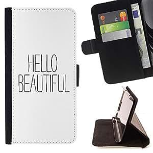- Queen Pattern FOR Samsung Galaxy Note 4 IV /La identificaci????n del cr????dito ranuras para tarjetas tir????n de la caja Cartera de cuero cubie - hello beautiful text white bla