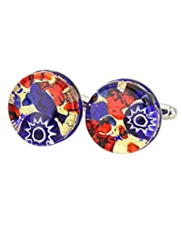 GlassOfVenice Murano Glass Venetian Classic Cufflinks Round - Blue Red