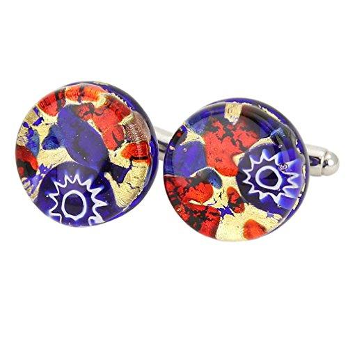 GlassOfVenice Murano Glass Venetian Classic Round Cufflinks - Blue - Cufflinks Red Round