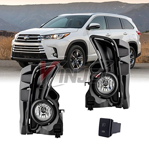 Winjet WJ30-0567-09 for 2017 2018 Toyota Highlander Clear Lens RH LH Factory Style Replacement Fog Light Kit with Bezel Trim Wiring Harness Switch Set Pair -