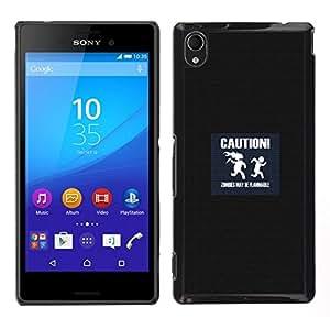 // PHONE CASE GIFT // Duro Estuche protector PC Cáscara Plástico Carcasa Funda Hard Protective Case for Sony Xperia M4 Aqua / Caution Symbol Slogan Quote Sign Zombies /