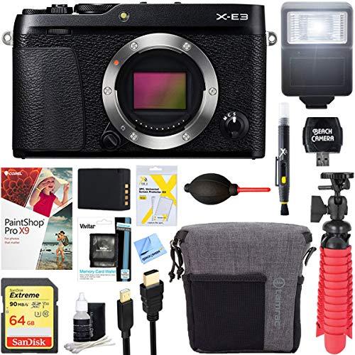 Fujifilm X-E3 24.3 MP Mirrorless Digital Camera Body (Black) + 64GB Memory & Flash Accessory Bundle