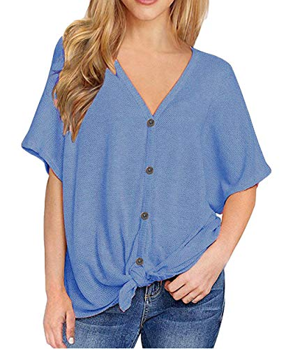 (Waffle Knit Tunic Womens Short Sleeve V Neck Button Down Henley Tops Tie Knot Front Loose Fitting Bat Wing Plain Shirts (S, Blue))