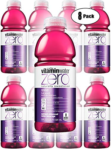 Vitamin Water Zero, Fruit Punch - Revive, 20oz Bottle (Pack of 8, Total of 160 Oz)