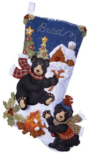 Bucilla 18-Inch Christmas Stocking Felt Appliqué Kit, 85467 Black Bear Bonfire