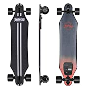 """#LightningDeal Teamgee H5 37"""" Electric Skateboard, 22 MPH Top Speed, 760W Dual Motor, 11 Miles Range, 14.5 Lbs, 10 Layers Maple Longboard with Wireless Remote Control (Black)"""