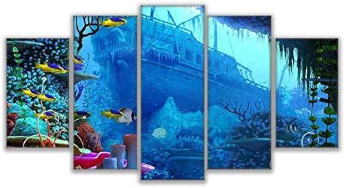 5ピースプリントキャンバス絵画沈没船サンゴ礁魚写真家の装飾プリントポスターウォールアート40X60Cmx2 40X80Cmx2 40X100Cmx1なしフレーム