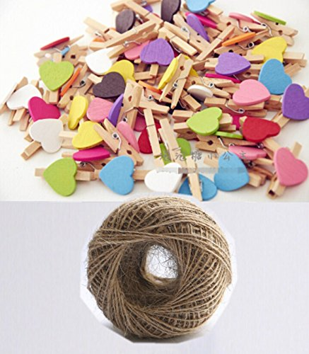 100 Pcs 30mm Crafts Heart Wooden Mini Clothespins 100 pieces and Jute Cord 164ft by Neutral