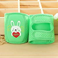 Iumer 1pair Mesh Knee Cap Baby Infant Toddler Knee Pad Brace Support for Skating, Scooter, Cycling,Rabbit Green,as description