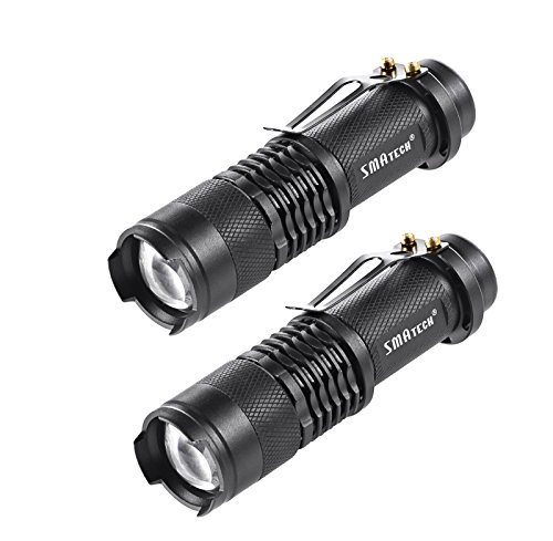 Flashlights Tactical Flashlight Led Flashlight – SMAtech Mini Torch Light 350 Lumen Portable Ultra Bright Zoomable for Night Fishing, Camping, Patrolling, Night Riding, Emergency[2 PACK]