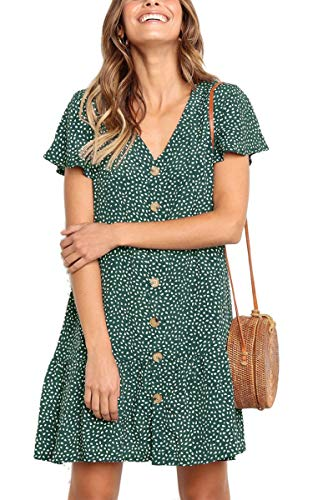 Angashion Women's Dresses-Short Sleeve V Neck Button Down T Shirt Midi Skater Dress Green L
