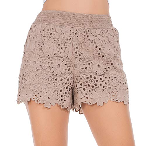 Summer Shorts for Women, Slim Scallop Hem Stretch Waist Double-Layer Lounge Mini Lace Shorts -