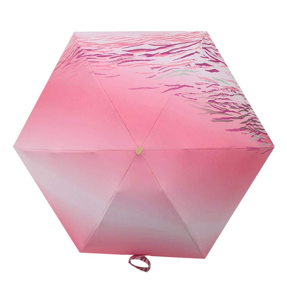 Classic Quality Windproof Handle Umbrella, Travel Umbrella Windproof Automatic Opening and Closing, Compact and Light Carrying Belt and Windproof 8 Ribs (Color : Pink) by AZZ