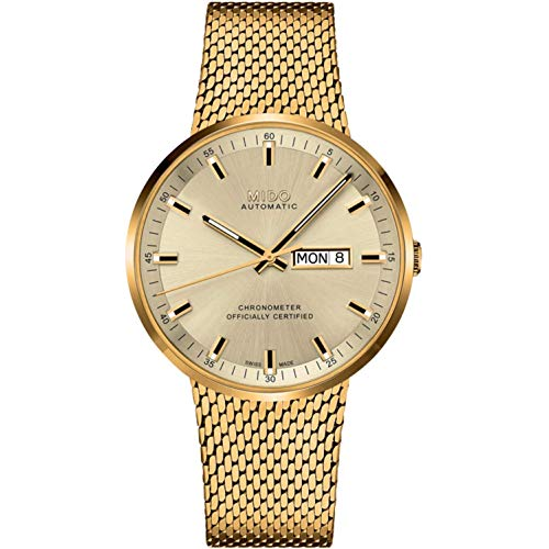 Mido Men's Commander Icone 42mm Gold Plated Bracelet & Case Automatic Analog Watch M031.631.33.021.00