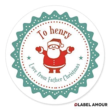 20 personalised father christmas xmas santa gift present stickers labels