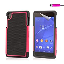 32nd® Shock proof dual defender case cover for Sony Xperia Z3 + screen protector, cleaning cloth and touch stylus - Hot Pink