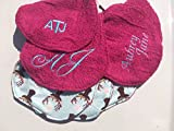 Set of 4 Personalized Baby Burp Cloths ~ Deer Antlers & Hot Pink