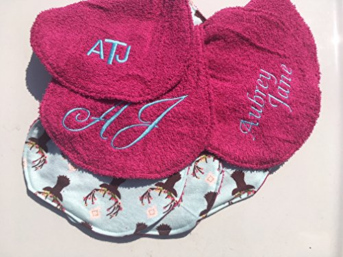 Set of 4 Personalized Baby Burp Cloths ~ Deer Antlers & Hot ()