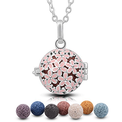 Eudora Harmony Bola Cherry Blossom 18mm Chime Angel Caller Pendant Necklace Christmas Gift 30'' (7PCS Mix-color Lava Stone)