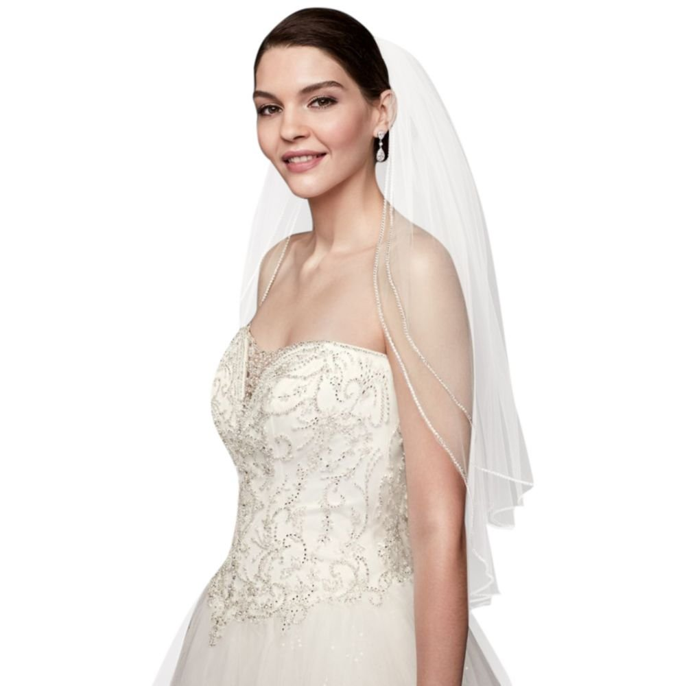 Two Tier Sparkling Rhinestone Edged Mid Veil Style V390, White
