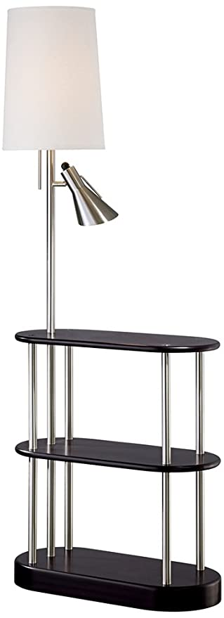 Triple Shelf Brushed Steel Espresso Floor Lamp Amazoncom