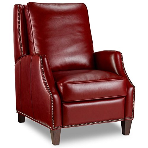 (Hooker Furniture Kerley Leather Recliner in Red and Dark Wood)