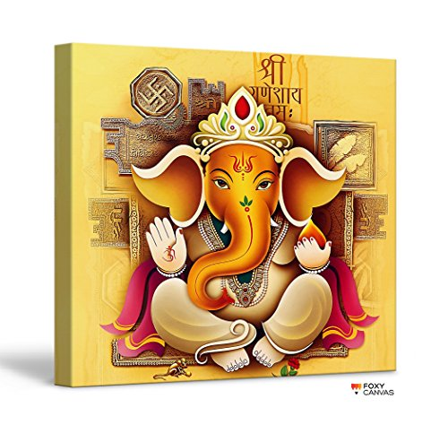 FoxyCanvas Lord Ganesh Ganpati Hindu God Ganesha Giclee Canvas Print Stretched and Framed Wall Art for Home and Office Decorations 16x16 inch ()