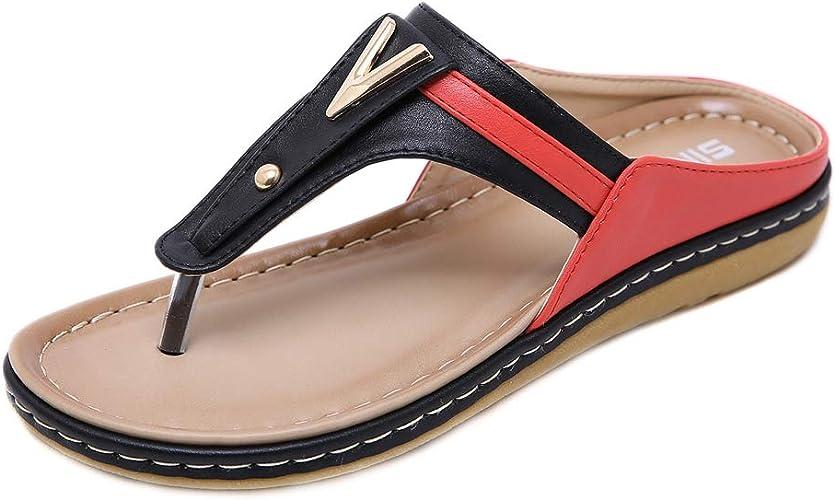 Strap Thong Slipper Flat Shoes Ladies Casual Sandals Bohemia T