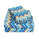 Wrinkle Resistant 1800 Series 3 Piece Zig-Zag Sheet Set, Twin XL, Blue