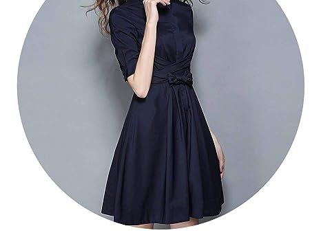 OL Style Dark Blue Dress Vestidos Verano Autumn Vestido Vintage 72278,Blue,S
