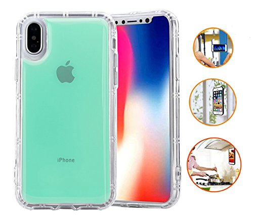 IPHONE X / IPHONE 10 Anti Gravity Case / Hands Free Case / Nano Suction Case / Magnetic Case / Stick On Nano Technology Casing / AntiGravity Nano Sticky Case / Transparent Selfie Case (Clear Mint)