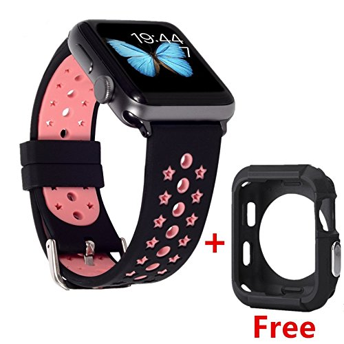 WISHTA 42mm Soft Silicone Watch Band with Ventilation Holes Quick Release Replacement Wrist Strap for Apple iWatch Nike+, Series 2, Series 1, Sport, Edition (Black/Pink)