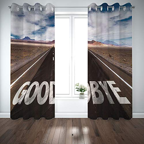 SCOCICI Grommet Blackout Window Curtains Drapes [ Going Away Party Decorations,Goodbye Written on Asphalt Road Highway City Urban Words,Brown Blue White ] for Living Room Bedroom Kitchen Cafe -