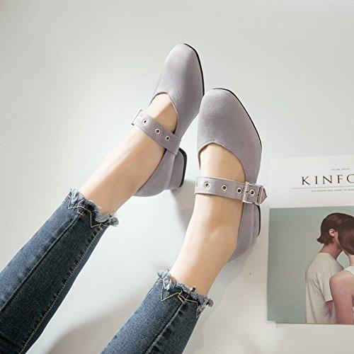 Grigio Mid Buckle Donna Da Shoes Mary Chic Janes Heel Block Mee qvpSx