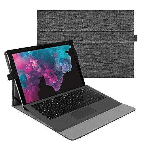 Fintie Case for Microsoft Surface Pro 6 / Pro 5 / Pro 4 / Pro 3 / Pro LTE - Multiple Angle Viewing Portfolio Business Cover, Compatible with Type Cover Keyboard (Denim Charcoal)