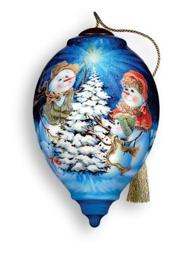 (The Snow Family Hand Painted Glass Ornament)