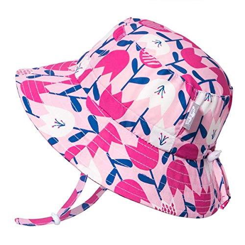 - JAN & JUL Toddler Girls Aqua-Dry Sun Protective Hats 50 UPF, Adjustable, Fun Colors (M: 6-24m, Tulip)