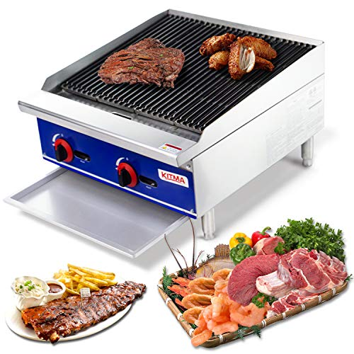 Grill and 24″ Natural Gas Countertop Charbroiler – KITMA Commercial Radiant Charbroiler Gas Barbecue Grill – Stainless Steel Gas grill – Restaurant BBQ Equipment, 70000 BTU