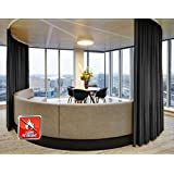 SeeSaw Home Fire Resistant Flame Retardant Thermal Insulated Solid Pinch Pleat Room Darkening Window Curtains/Draperies for Home, Restaurant, Hotel, 42W By 84L Inch,1 Panel, Black