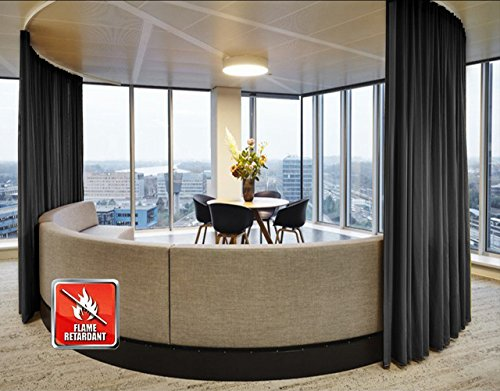 SeeSaw Home Fire Resistant Flame Retardant Thermal Insulated Solid Pinch Pleat Room Darkening Window Curtains/Draperies for Home, Restaurant, Hotel, 84W By 84L Inch,1 Panel, Black