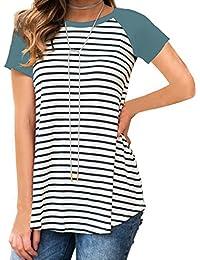 Women's Short Sleeve Raglan Sports Striped Tunic T Shirt Blouse Tops